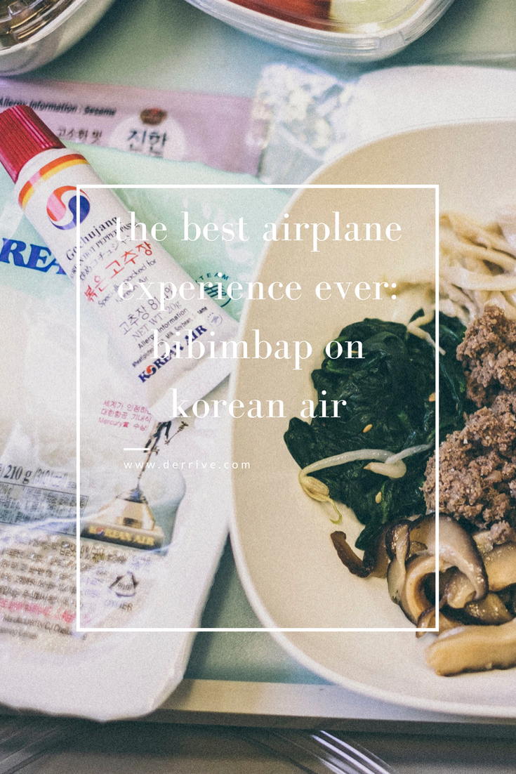 dérrive travel - the best airplane experience ever! bibimbap on korean air #bibimbap #koreanair #travel #koreanfood