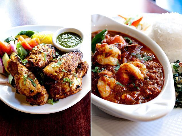 Tandoori chicken wings (left) and Balchao shrimp (right). Photographs by Scott Suchman.
