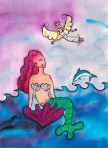 Mermaid's Angel. Silk dyes on silk, 5 x 7 inches © 2010 by Kathy Crabbe.
