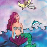 "Kathy Crabbe, The Mermaid's Angel, 2004, silk dyes on silk, 8x10""."