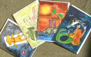 Watercolor & Silk Art Cards by Kathy Crabbe