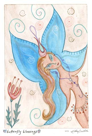 """Kathy Crabbe, Butterfly Blessings, 2013, watercolor, gouache & coloured pencil on paper, 5 x 7""""."""