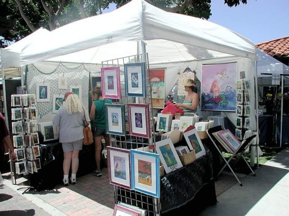 Kathy Crabbe, Art Fair Booth, Clemente Art Festival, California