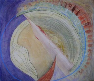 Wall of Sound.Acrylic and pastel on silk, 42 x 42 inches. © 2010 by Kathy Crabbe