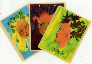 Celtic Tree Goddess Deck, Silk dyes on silk, Set of 13 Cards. © 2010 by Kathy V. Crabbe