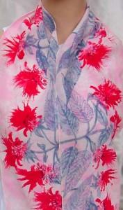 Scarlet Beebalm hand painted silk crepe scarf