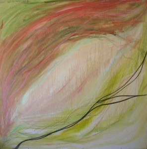 In Process. Acrylic & pastel on masonite, 48 x 48 inches. © 2010 by Kathy Crabbe