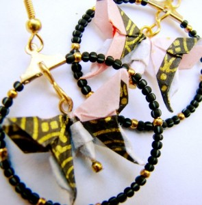 Origami Butterfly Loop Earrings by Christine McCredie