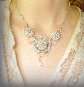 Virgo Artist:  ATHALIE Necklace - Handmade Silver Lace, Pearls, Vintage Rhinestones by Ivy Long