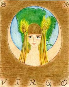 Virgo Goddess,  Watercolor on board, 6 x 8 inches. © 2010 by Kathy V. Crabbe