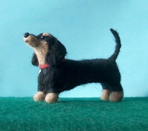 Custom needle felted sculpture of your dog by Alice England