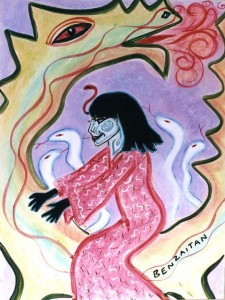 Libra Goddess, Benzaitan. Watercolor on board, 20 x 30. © 1997 by Kathy Crabbe