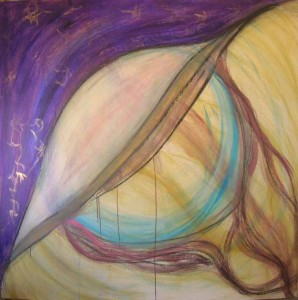 Balance. Acrylic & pastel on masonite, 48 x 48 inches. © 2010 by Kathy Crabbe