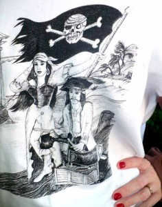 Avast Galleon Gal Pirate Pen and Ink Art T-Shirt