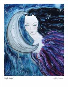 Night Angel. Acrylic on wood, 9 x 12 inches. © 2010 by Kathy Crabbe