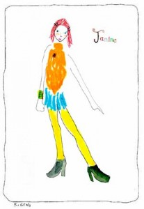 Janine. Watercolor on paper, 8 x 10 inches © 2010 by Kathy Crabbe
