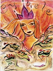 Leo Goddess - Cybele. Watercolor on board, 24 x 30 inches. © 2010 by  Kathy Crabbe