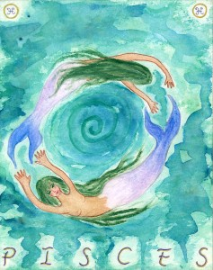 Pisces. Watercolor on board, 8 x 10 inches © 2010 by Kathy Crabbe.