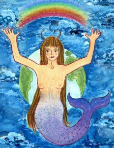 Capricorn Goddess. Watercolor on board, 8 x 10 inches © 2010 by Kathy Crabbe.