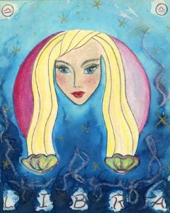 Pisces Goddess. Mixed media on board, 24 x 36 inches © 2010 by Kathy Crab