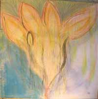 Innocence Lost. Acrylic & pastel on masonite, 48 x 48 inches. © 2011 by Kathy Crabbe