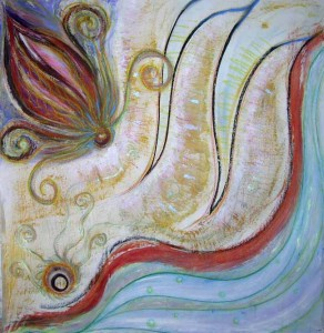 Of Gods and Angels. Acrylic & pastel on masonite, 48 x 48 inches. © 2009 by Kathy Crabbe
