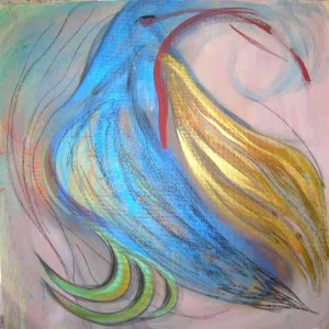 Fire Bird. Acrylic & pastel on masonite, 48 x 48 inches. © 2010 by Kathy Crabbe