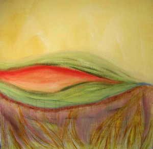 Coral Room. Acrylicl & charcoal on canvas, 48 x 48 inches. © 2010 by Kathy Crabbe
