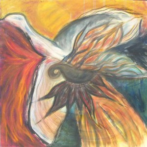 Firebird. Acrylic & charcoal on canvas, 48 x 48 inches. © 2012 by Kathy Crabbe