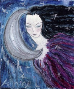 Night Angel. Acrylic and ink on wood panel, 8 x 10 inches. © 2012 by Kathy Crabbe