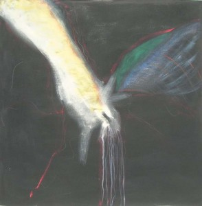"Kathy Crabbe, Beginning to see the light, 2012, acrylic on canvas, 48 x 48""."