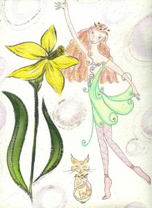 "Kathy Crabbe, Daffodil & Solara, 2001, watercolor on paper, 8.5 x 11""."