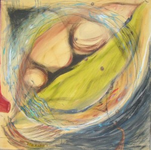 "Kathy Crabbe, Take me to your playground, 2012, acrylic and charcoal on canvas, 48 x 48""."