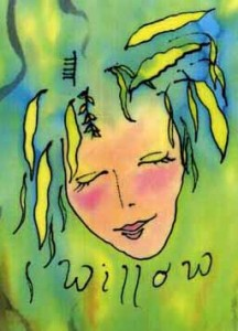 "Kathy Crabbe, Willow Goddess, 2000, silk dyes on silk, 8.5 x 11""."