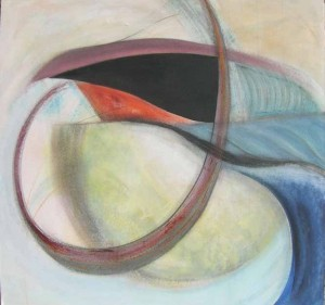 Kathy Crabbe, She who dwells, 2012, acrylic, charcoal and pastel on canvas, 48 x 48.