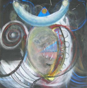 Kathy Crabbe, Goddess No. 1, 2012, acrylic, charcoal & pastel on canvas, 48 x 48""