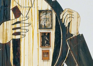 detail of: Walter Hopps Hopps Hopps, Edward Kienholz, 1959. Paint and resin on wood, printed color reproductions, ink on paper, vertebrae, telephone parts, candy, dental molds, metal, pencil, and leather. 87 x 42 x 21 in. The Menil Collection, Houston, Gift of Lannan Foundation. © Nancy Reddin Kienholz. Photo: Susan Einstein