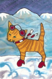 "Kathy Crabbe, Mittens, 2004, silk dyes on silk, 5 x 7""."