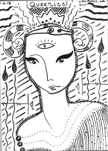 "Kathy Crabbe, Queeniel, 2013, ink on paper, 5 x 7""."
