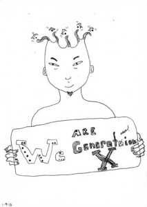 "Kathy Crabbe, We are Generation X, 2013, mixed media on paper, 5 x 7""."