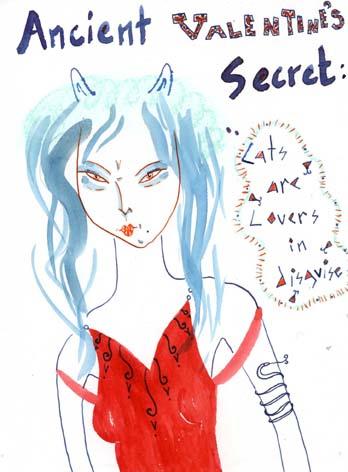 """Kathy Crabbe, Ancient Valentines Secret, 2013, ink, pastel & gouache on paper, 5 x 7"""""""