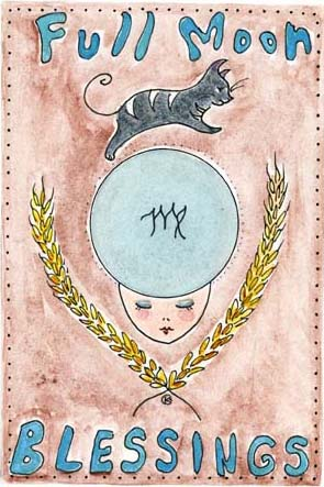 Kathy Crabbe, Full Moon Blessings, 2013, ink & watercolor on paper, 5 x 7""