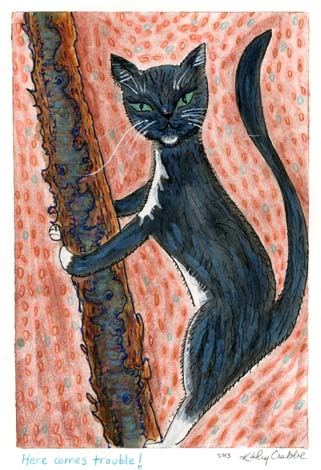 Kathy Crabbe, Here comes trouble!, 2013, watercolor on paper, 5 x 7""