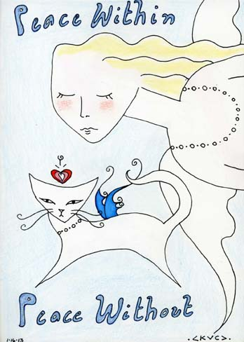 "Kathy Crabbe, Peace Within Peace Without, 2013, mixed media on paper, 5 x 7""."