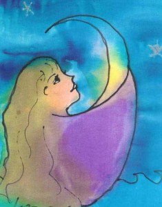 "Kathy Crabbe, Moon Girl, 2001, Silk dyes on silk, 6x8""."