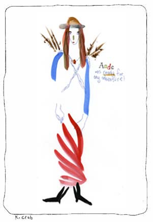 "Kathy Crabbe, Ande was ready for any adventure, 2003, mixed media on paper, 8x10""."