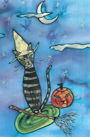 Kathy Crabbe, October Cat, 2005, silk dyes on silk, 11 x 14 inches.