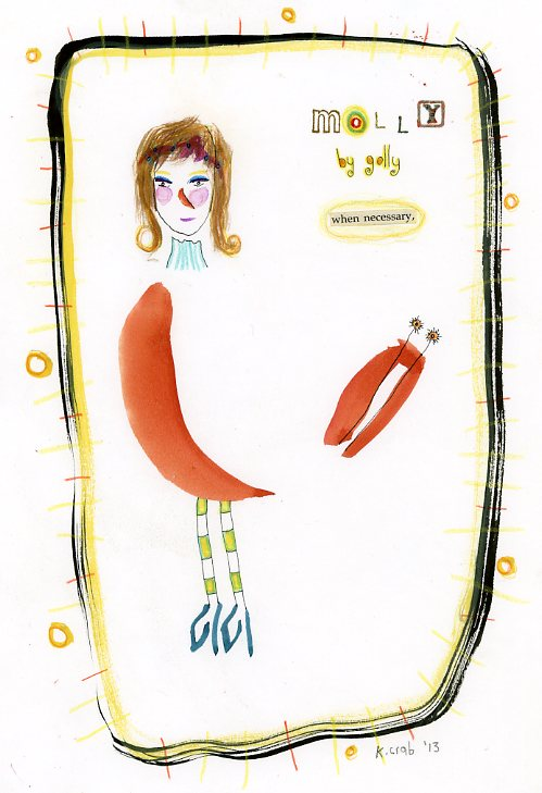"Kathy Crabbe, Molly by golly, 2013, mixed media on paper, 8.5 x 11""."