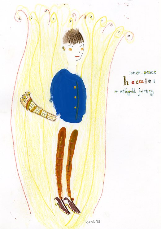 "Kathy Crabbe, inner-peace Hermie, 2013, mixed media on paper, 8.5 x 11""."