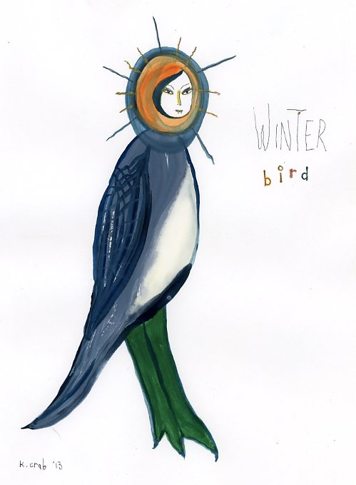 Winter bird painting in gouache by artist Kathy Crabbe